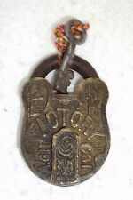 Old Handcrafted Orginal FACTORY ALIGARH Brass Pad Lock With Original Key