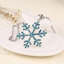 Frozen Elsa Rhinestone Blue Snowflake Pendant Necklace Jewelry, Adult/kids
