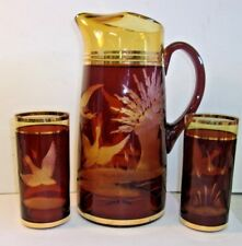 Bohemian Czech Crystal Amber Cut To Clear Pitcher & 2 tumblers Gold Trim Ducks