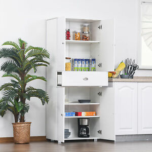 HOMCOM Tall Kitchen Storage Cabinet Cupboard w/ Drawer for Dining Room White