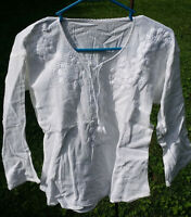 """Maya Mexican Blouse Top Shirt Embroidered Chiapas White Small 17"""" x 22"""" XP"""