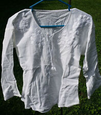 "Maya Mexican Blouse Top Shirt Embroidered Chiapas White Small 17"" x 22"" XP"