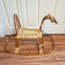 Vintage Mid Century Modern Italian Rattan Wicker Rocking Horse Franco Albini