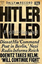 WW2 Picture Photo Hitler Killed Newspaper Clipping  2177