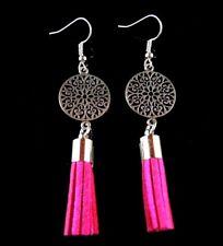 Tibetan Style Statement Dangle Earrings with Dark Pink Suede Tassels #1402