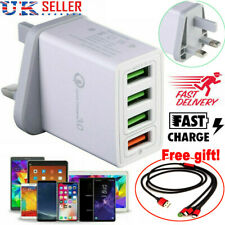 4port Fast Qualcomm Quick Charge Qc 3.0 USB Hub Wall Charger Adapter UK