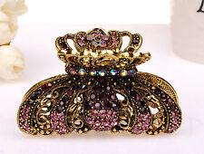 Metal Hair Claw Clip Antiq Gold Green/Purple/Pink/Red Diamant Crystal Rhinestone