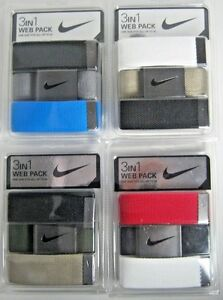 """NIKE GOLF 3 IN 1 WEB PACK MEN'S CANVAS BELT OSFM UP TO 42""""  NEW Selected Color"""