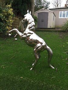 STUNNING STUD SILVER METAL HORSE - VERY LARGE SIZE FIGURE STATUE DECORATIVE ART