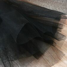 Black Fine Tulle fabric 300cm wide - by the M - net for prom, veil, underskirt