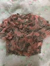 Delightful PHASE EIGHT Ruffles/ Elasticated Hem/ Cuffs Blouse-sz14 Peach Brown