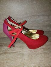 Women's Style&co Jeannie  Red & Pink Round Toe Platform Heels Pumps Size 7.5