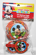 24 MICKEY MOUSE CUPCAKE BAKING CUPS + 24 TOPPERS DISNEY CLUBHOUSE PARTY SUPPLIES