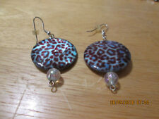 Brown & Blue Circle with Clear Bead Earrings