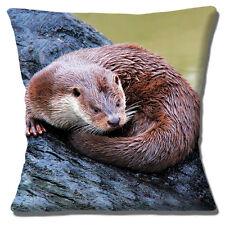 "Cute Wild Otter Cushion Cover 16""x16"" 40cm Photo Print 'Resting on Log' Multi"