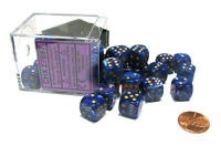 Lustrous 12mm D6 Chessex Dice Block (36 Dice) - Purple with Gold Pips