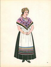 Gravure d'Emile Gallois costume des provinces françaises 1950 Gascogne