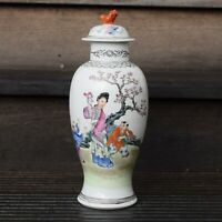 Chinese famille rose Porcelain lidded vase mid early 1900s republic period