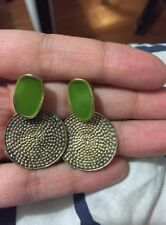 Green Enamel Oval & Antique Gold Tone Disc Stud Earrings