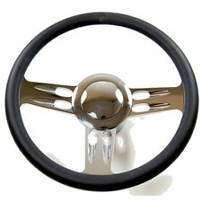 Chevy Three Spoke Chrome & Black Leather Steering Wheel for chevy, GM Column