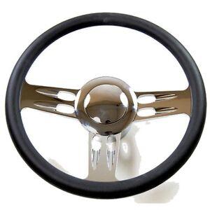 Chevy Three Spoke Chrome & Black Leather Steering Wheel for chevy, GM Column