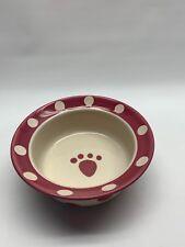 Petrageous Designs pet dog Bowl Paw Print Pink White Polka Dots Stoneware