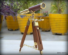 Vintage Brass Telescope Leather Antique Dutch Astronomy With Wood Stand Nautical