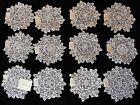 12 VTG 5 1/2'-6' HAND MADE COTTON LACE DOILIES NEW OLD STOCK 1940'S ONE DOZEN