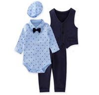 Infant Toddler Baby Boys Gentlemen 4-Piece Tuxedo Suit Formal Wear Outfit