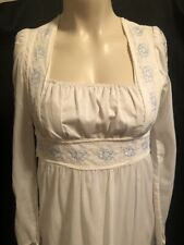 Gunne Sax VTG 70s White with Blue Flowers Dress Size 7 Boho Wedding Lace Prairie