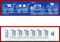 France 1987 carnet Journée du timbre diligence Berline ** MNH, BC2469, plié en 2
