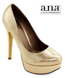 "New US Sz 9 ANA Gold Platforms Pumps 5"" Heels Women Shoes NIB new In Box"