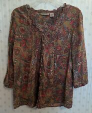 Art and Soul M Shirt Blouse Top Paisley Pleats 3/4 Sleeve Button Up Career A3