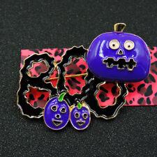 Women's Purple Enamel Cute Pumpkin Betsey Johnson Brooch Pin