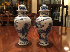 A Pair Chinese Qing Kangxi Style Blue and White Vases with Covers, Marked.