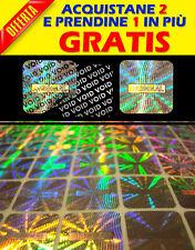 324 ETICHETTE ADESIVE SIGILLI OLOGRAMMI DI GARANZIA, SICUREZZA, BOLLINI 15X15 MM