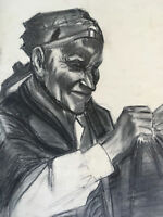 Vtg Antique Mid Century Old Man Ethnic Portrait Charcoal Drawing Painting- 50's