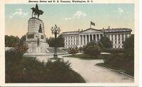 Sherman Statue And US Treasury, Washington DC.  Vintage Postcard.
