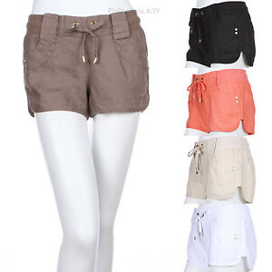 Casual Comfort Solid Linen Shorts Draw String Belt Loop 4 Pockets Gold Ribbets