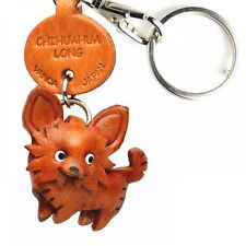 Chihuahua Long Handmade 3D Leather Dog Keychain *VANCA* Made in Japan #56717