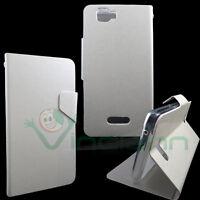 Custodia eco pelle FLIP LINGUETTA Bianco perla per Wiko Rainbow 4G cover STAND