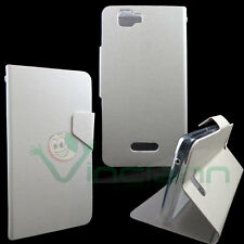 Case eco leather FLIP FLAP White pearl for Wiko Rainbow cover STAND