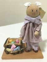 "EASTER Egg Crate WOOD Bunny Rabbit Figure  Collectible Shelf Decor 4-1/2"" -CUTE!"