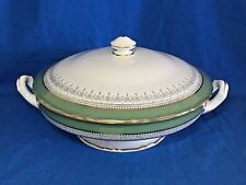Royal Worcester China green Regency pattern round covered vegetable bowl and lid