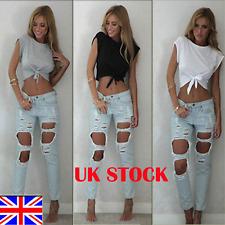 UK Women Summer Casual Short Sleeve/sleeveless Shirt T-shirt Blouse Crop Top