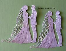 Stanzteile  Kartenaufleger  Sticker Brautpaar Hochzeit Neu Neu  Perlmuttkarton