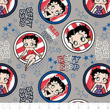 Red White & Betty Boop Patriotic Grey Camelot 100% Cotton Fabric by the yard