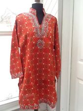 Ladies' Orange Patterned Blouse / Tunic - L / XL