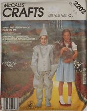 McCall's 2202 Sewing Pattern Hallowe'en Costume Dorothy Tin Man Children's 4 6