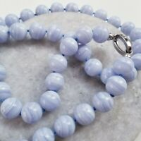 Blue Lace Agate Stone Lavender Chunky Sphere Beaded 925 Clasp Necklace